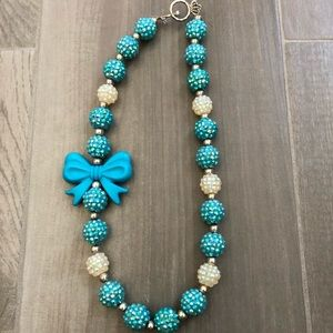 Blue sparkly beaded necklace w/ bow charm for girl
